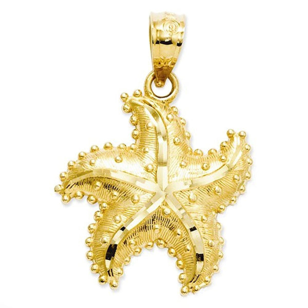 14k Yellow Gold Starfish Open Back Pendant Charm
