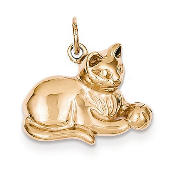 14k Rose Gold Cat Kitten Open Back Pendant Charm