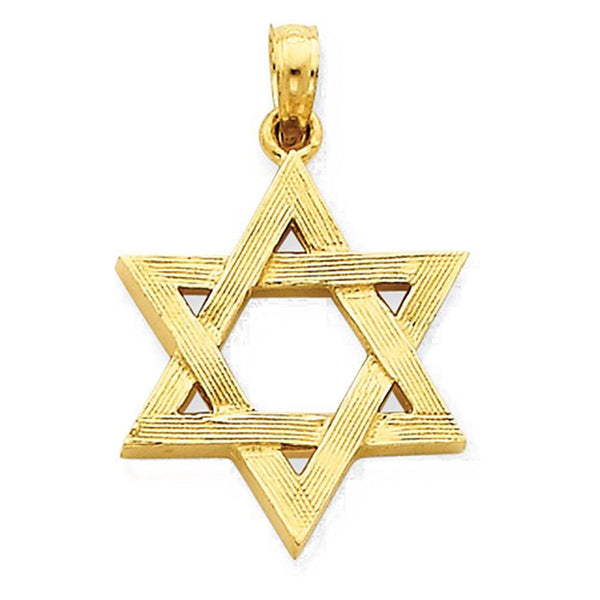 14k Yellow Gold Star of David Open Back Pendant Charm