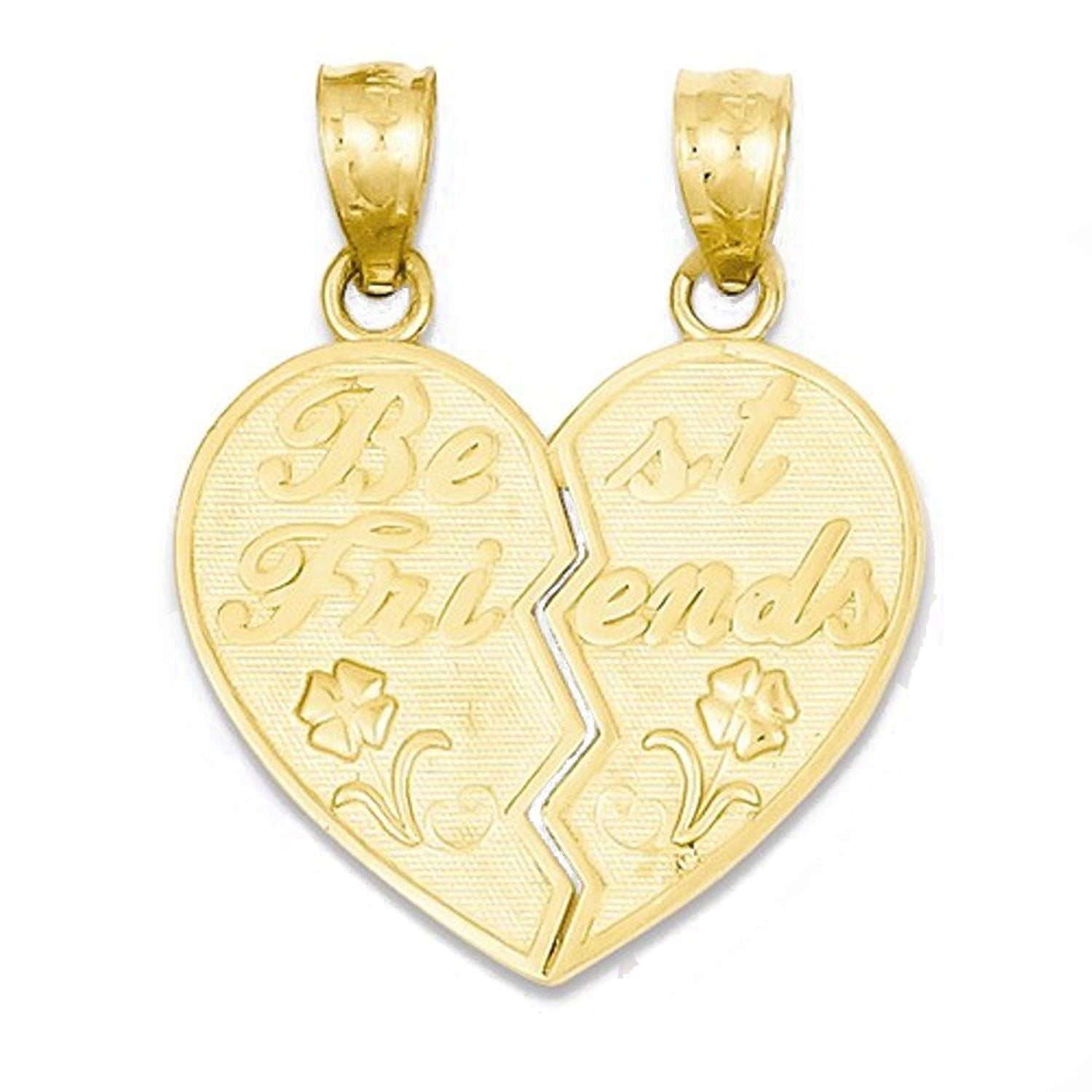 14k Yellow Gold Heart Best Friends Break Apart Pendant Charm