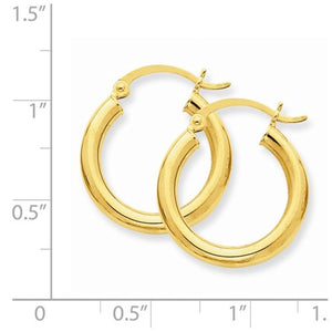 14K Yellow Gold 19mm x 3mm Classic Round Hoop Earrings