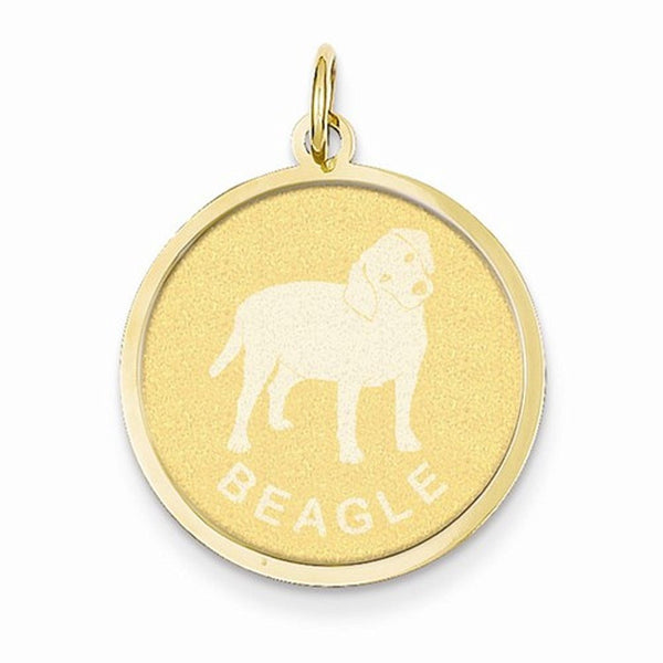 14k Yellow Gold Beagle Dog Round Disc Pendant Charm