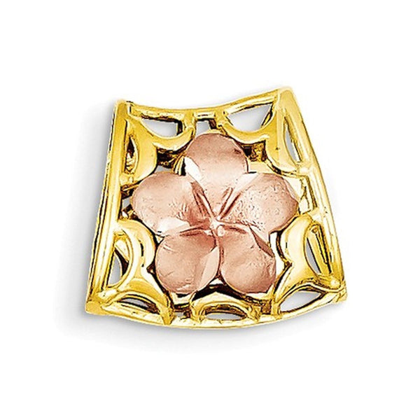 14k Tri Color Gold Plumeria Chain Slide Reversible Pendant Charm