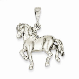 14k White Gold Horse Open Back Pendant Charm