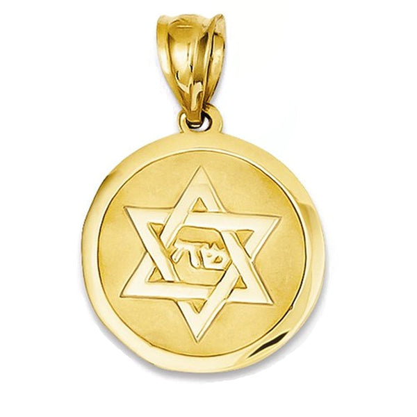 14k Yellow Gold Star of David Round Disc Pendant Charm