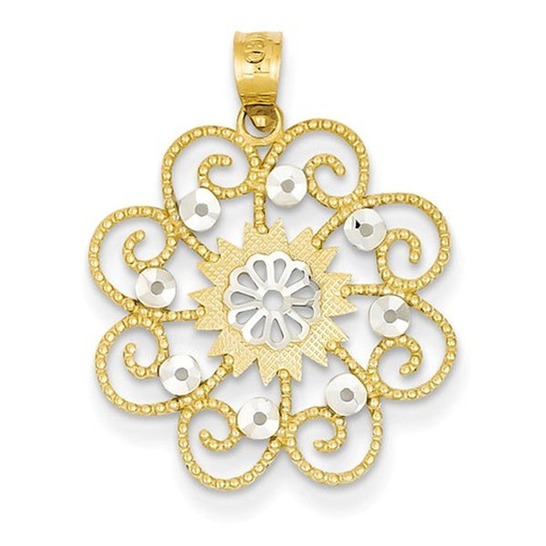 14k Yellow Gold and Rhodium Swirl Flower Pendant Charm