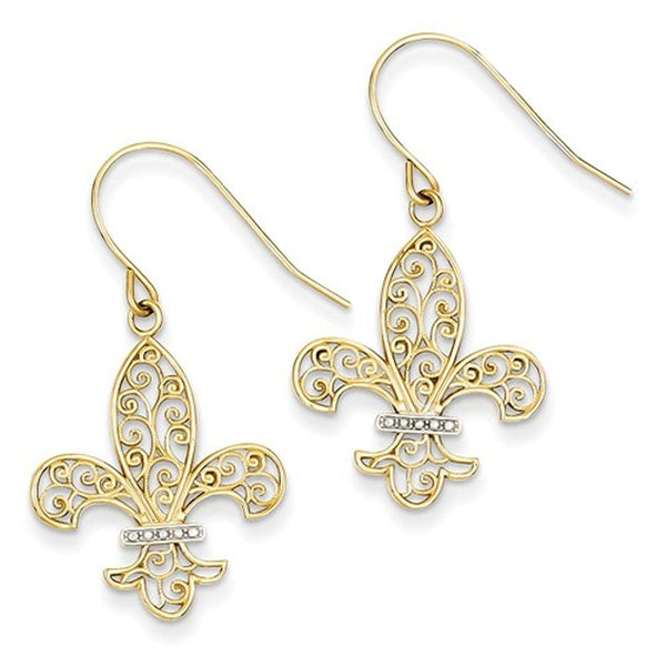 14k Yellow Gold and Rhodium Fleur de Lis Dangle Earrings