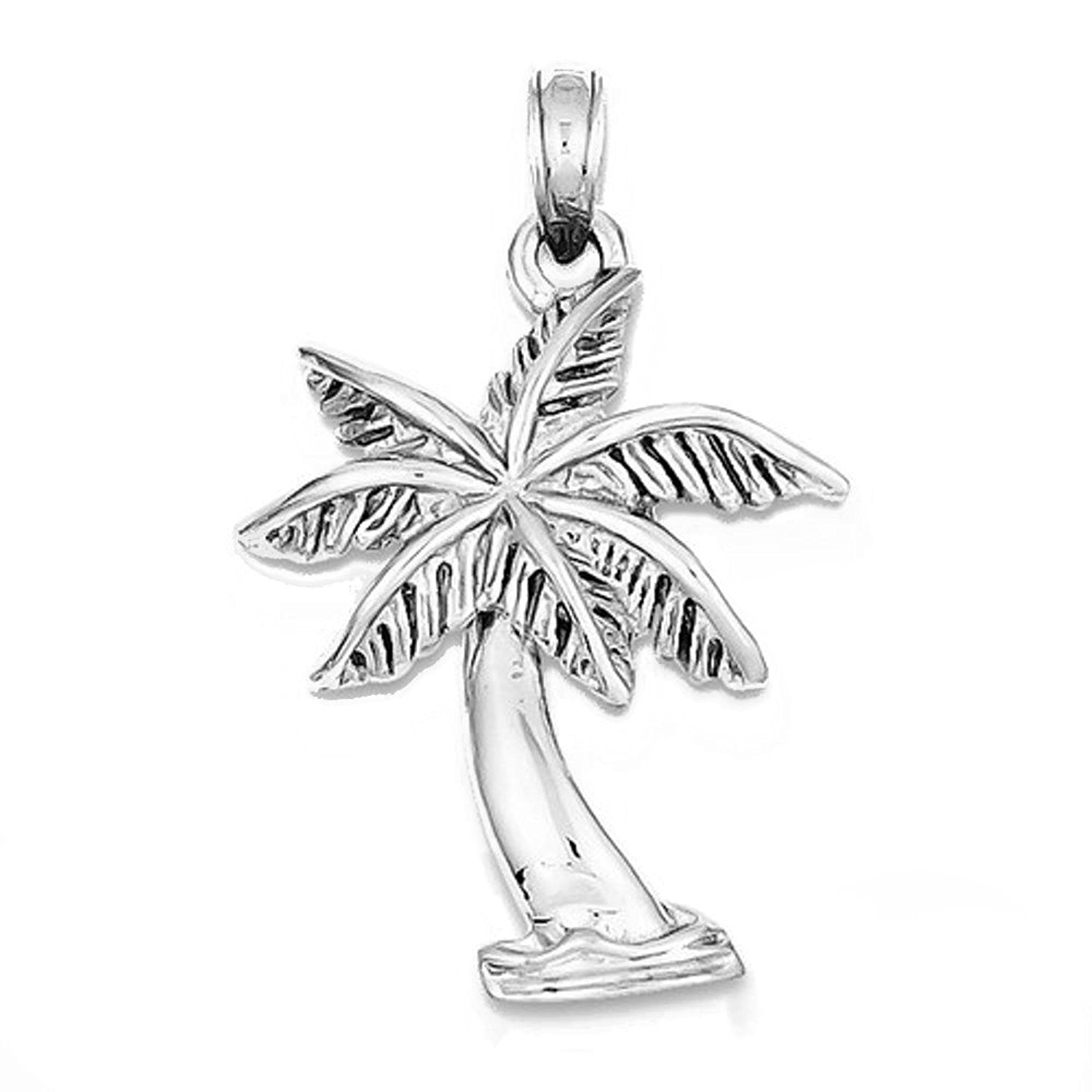 14k White Gold Palm Tree Pendant Charm