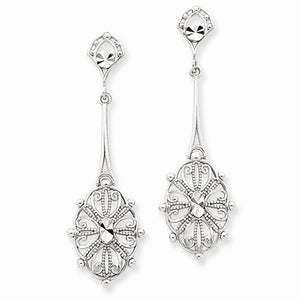 14k White Gold Filigree Oval Festive Dangle Post Earrings