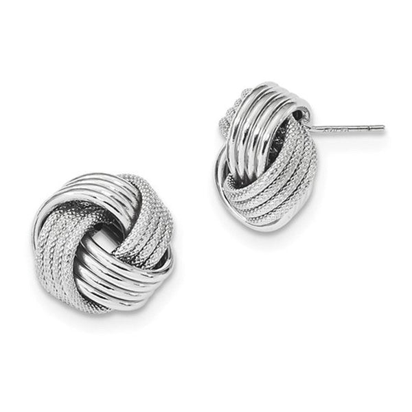 14k White Gold 15mm Classic Love Knot Stud Post Earrings