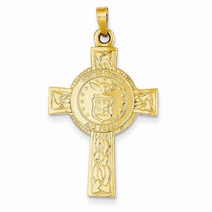 14k Yellow Gold US Air Force Insignia Cross Pendant Charm