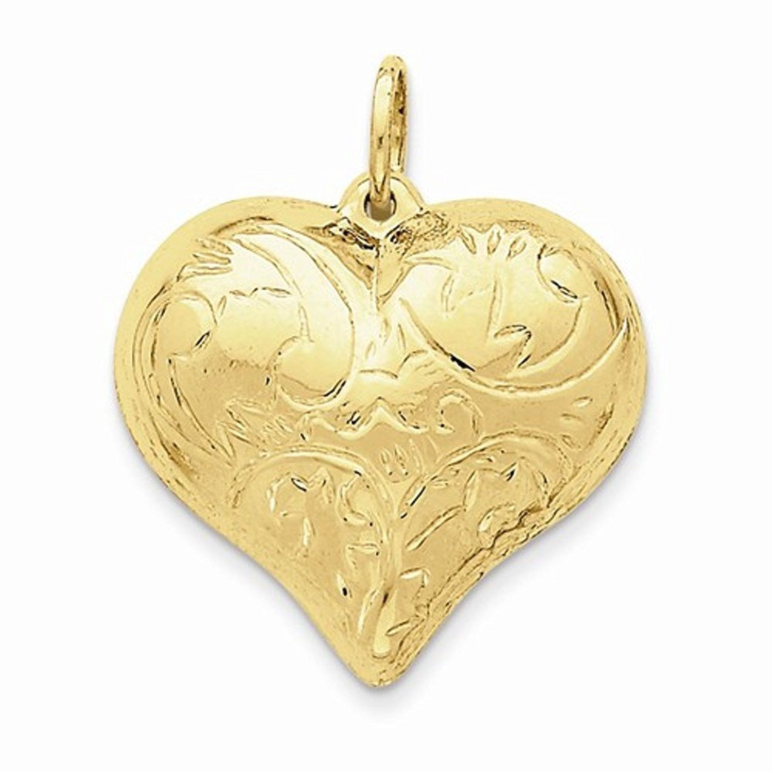 14k Yellow Gold Scrolled Puffy Heart 3D Hollow Pendant Charm