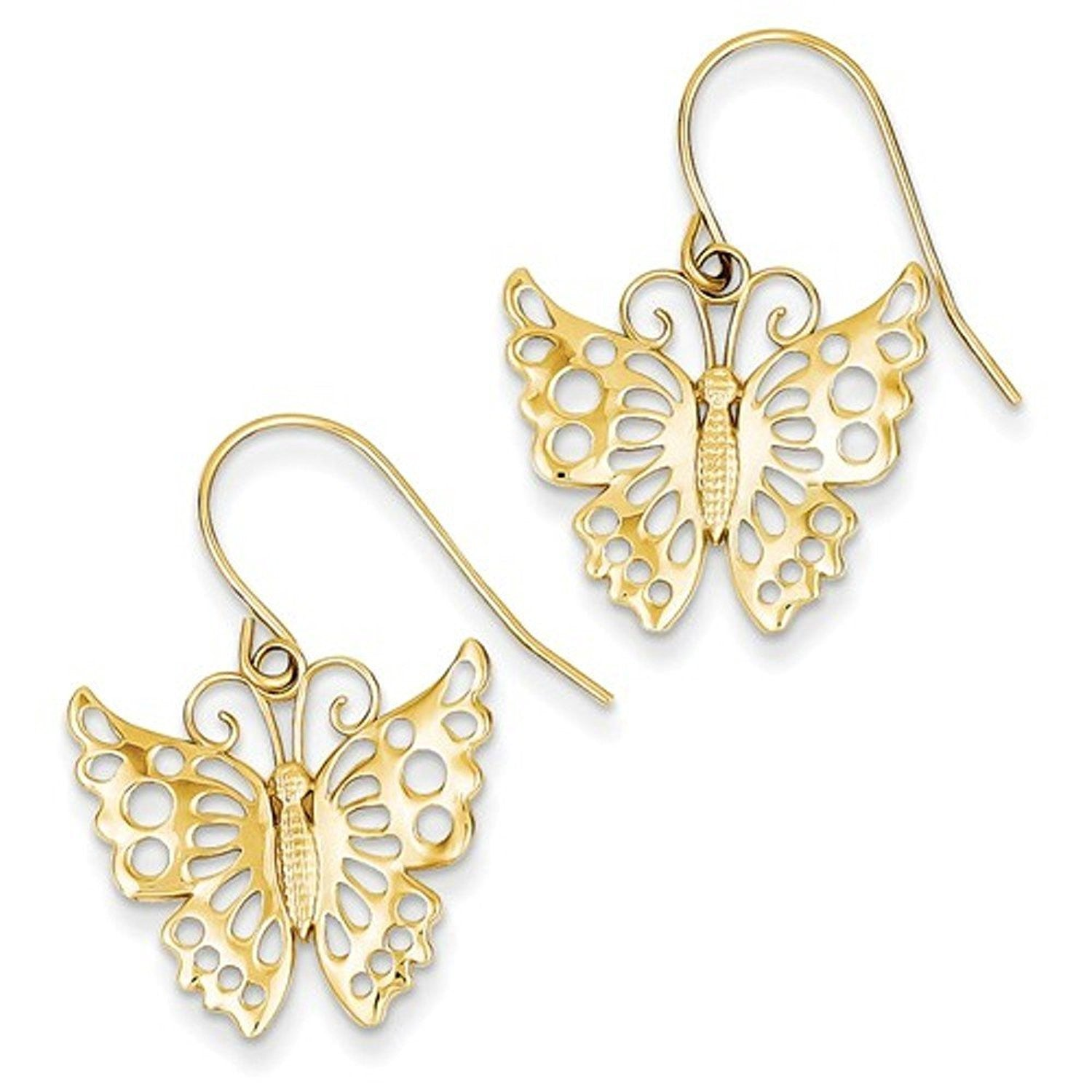 14k Yellow Gold Butterfly Shepherd Hook Dangle Earrings