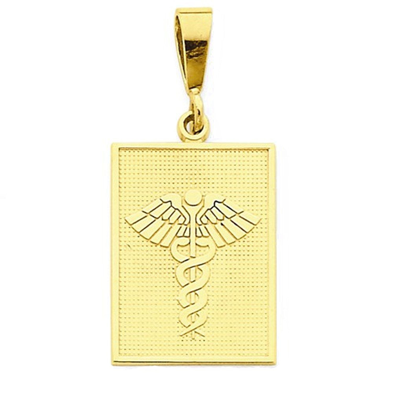 14k Yellow Gold Medical Caduceus Symbol Pendant Charm