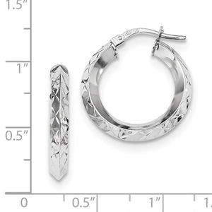 14K White Gold 21mmx21mmx3.25mm Modern Contemporary Round Hoop Earrings