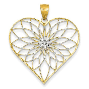 14k Yellow Gold Rhodium Heart Starburst Pendant Charm