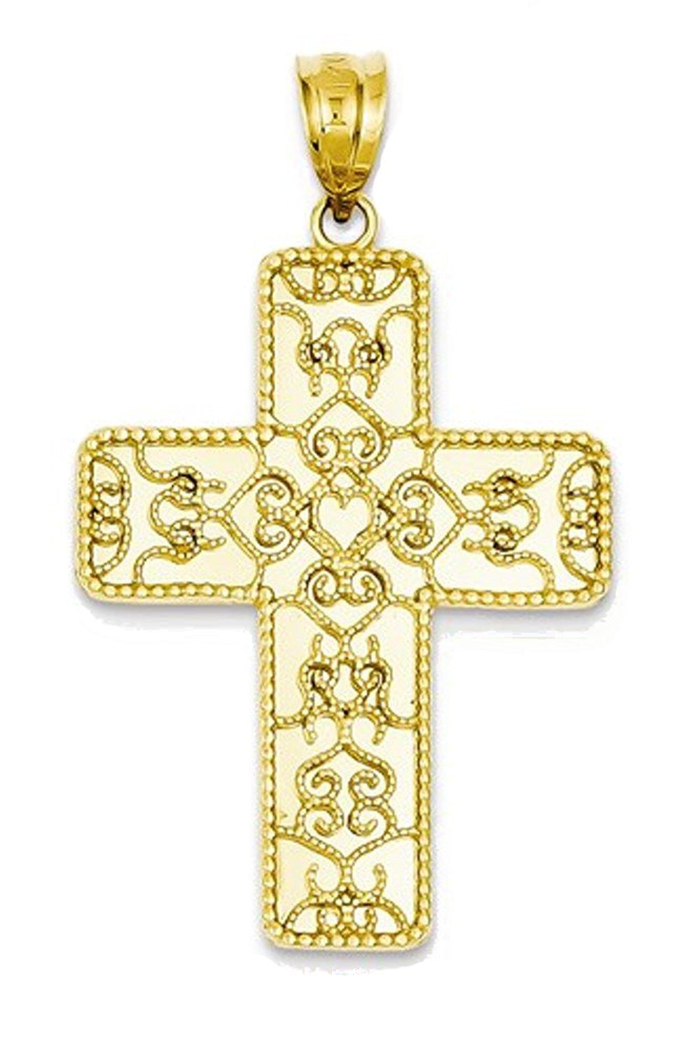 14k Yellow Gold Filigree Cross Pendant Charm