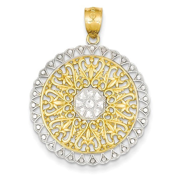 14k Yellow Gold and Rhodium Filigree Round Pendant Charm
