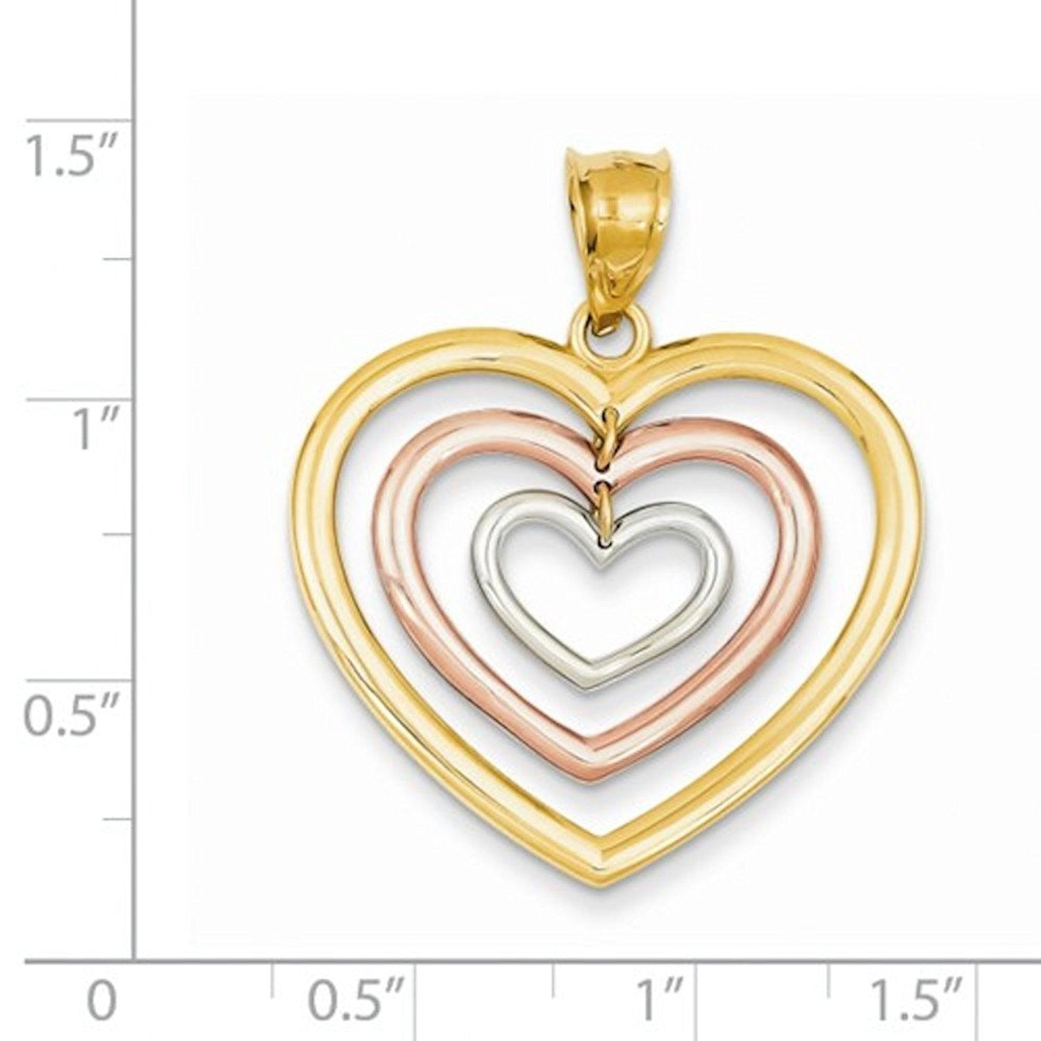 14k Tri Color Gold Hearts Pendant Charm