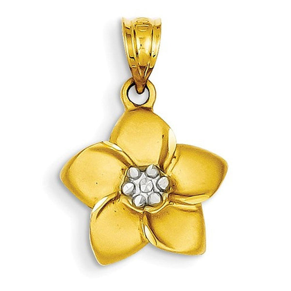 14k Yellow Gold and Rhodium Plumeria Flower Small Pendant Charm