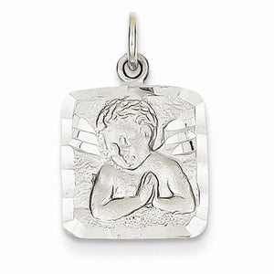 14k White Gold Angel Square Pendant Charm
