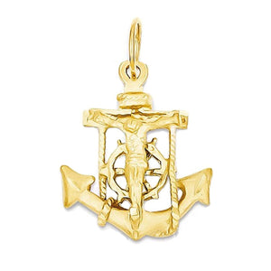 14k Yellow Gold Mariners Cross Crucifix Small Pendant Charm