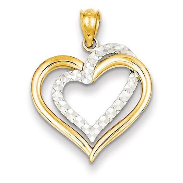 14k Two Tone Gold Heart Pendant Charm