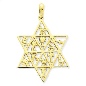 14k Yellow Gold 12 Tribes Star of David Pendant Charm