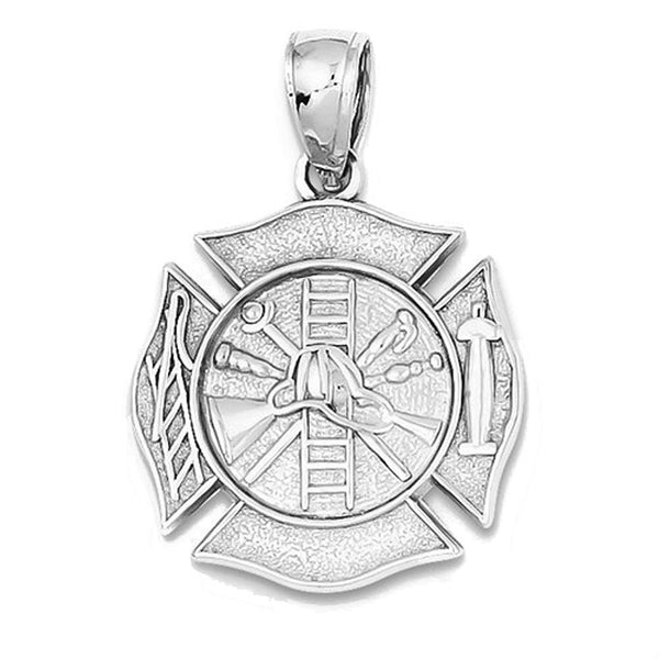 14k White Gold Fireman Shield Fire Department Reversible Pendant Charm