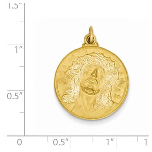 14k Yellow Gold Jesus Face Medal Pendant Charm