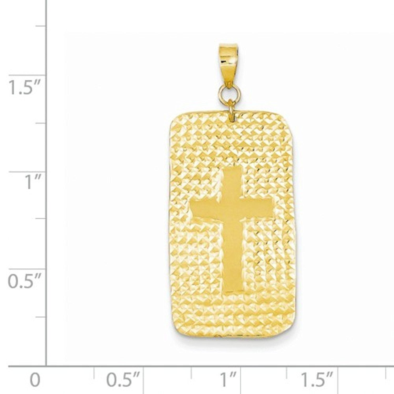 14k Yellow Gold Cross Rectangle Pendant Charm