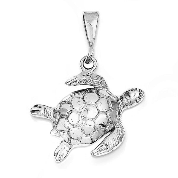 14k White Gold Turtle Open Back Pendant Charm