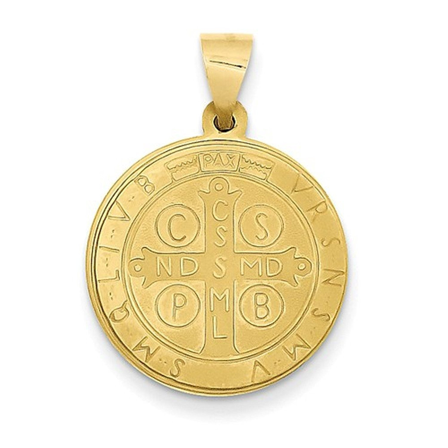 14k Yellow Gold Saint Benedict Round Medal Hollow Pendant Charm