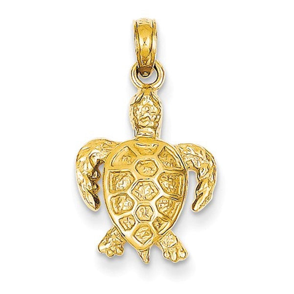 14k Yellow Gold Turtle Open Back Small Pendant Charm