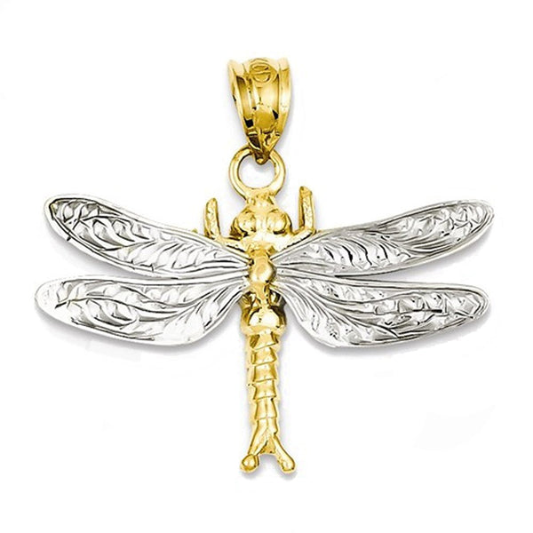 14k Gold Two Tone Dragonfly Pendant Charm