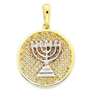 14k Yellow Gold and Rhodium Menorah Pendant Charm
