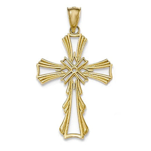 14k Yellow Gold Cross with X Center Pendant Charm