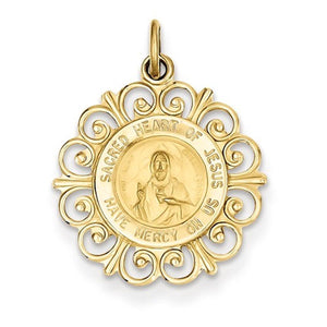 14k Yellow Gold Sacred Heart of Jesus Pendant Charm