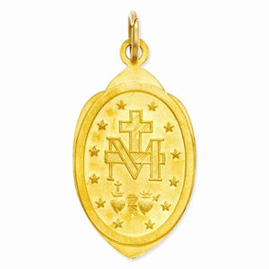 14k Yellow Gold Blessed Virgin Mary Miraculous Medal Pendant Charm