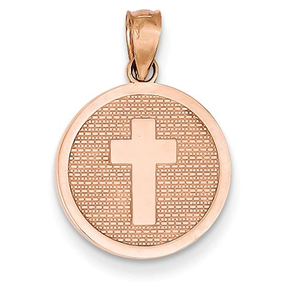 14k Rose Gold Cross God Bless Round Reversible Pendant Charm