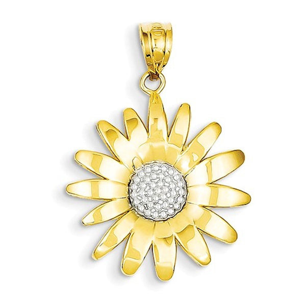 14k Yellow Gold and Rhodium Sunflower Pendant Charm