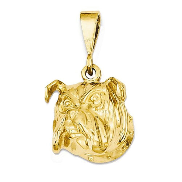 14k Yellow Gold English Bulldog Open Back Pendant Charm