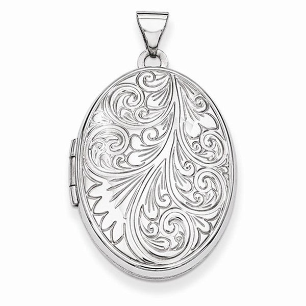 14k White Gold Scroll Oval Photo Locket Pendant Charm