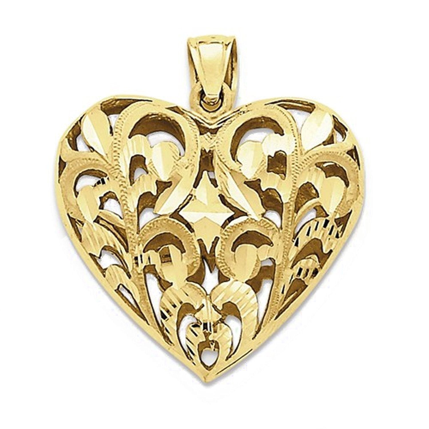 14k Yellow Gold Puffy Heart Cage 3D Hollow Pendant Charm