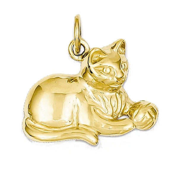 14k Yellow Gold Cat Kitten Open Back Pendant Charm