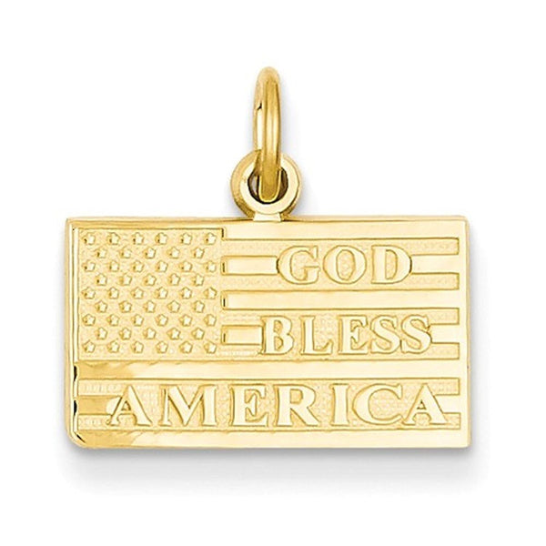 14k Yellow Gold God Bless America Flag Pendant Charm