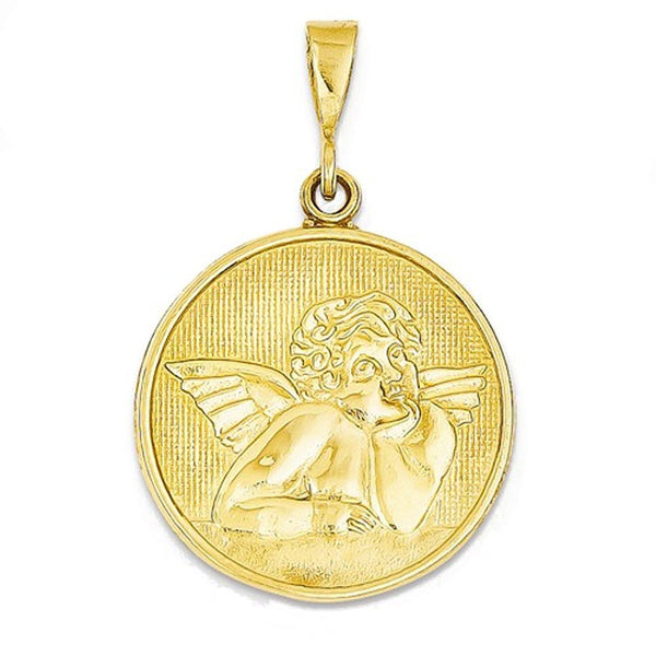 14k Yellow Gold Angel Round Pendant Charm
