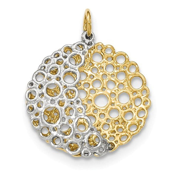 14k Gold Two Tone Domed Filigree Circle Pendant Charm