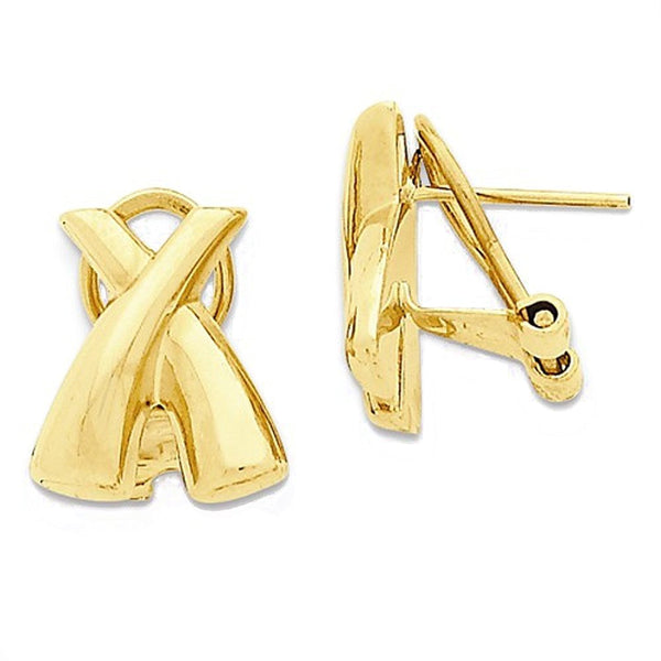 14k Yellow Gold Modern Contemporary X Omega Post Earrings