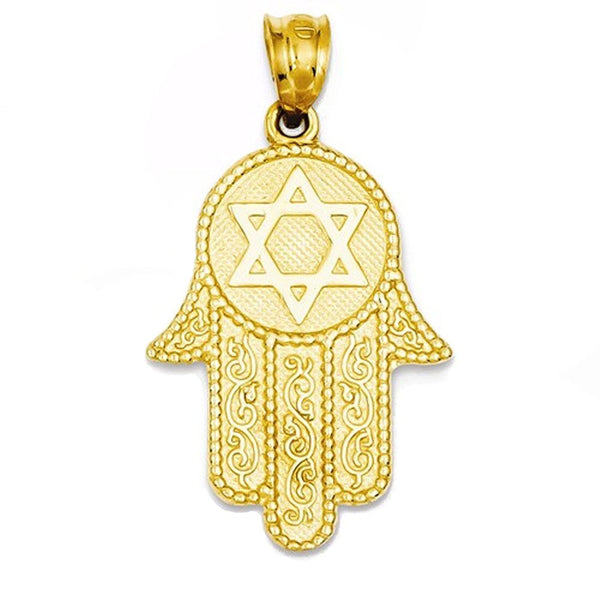 14k Yellow Gold Chamseh Hamsa Hand of God Pendant Charm
